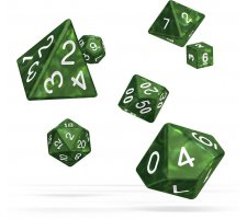 Oakie Doakie RPG Marble Dice Set: Green (7 pieces)