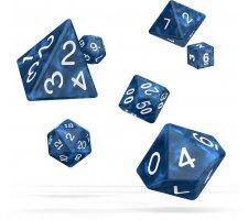 Oakie Doakie RPG Marble Dice Set: Blue (7 pieces)