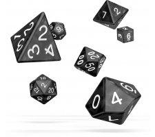 Oakie Doakie RPG Marble Dice Set: Black (7 pieces)