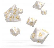 Oakie Doakie RPG Marble Dice Set: White (7 pieces)