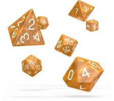 Oakie Doakie RPG Marble Dice Set: Orange (7 pieces)